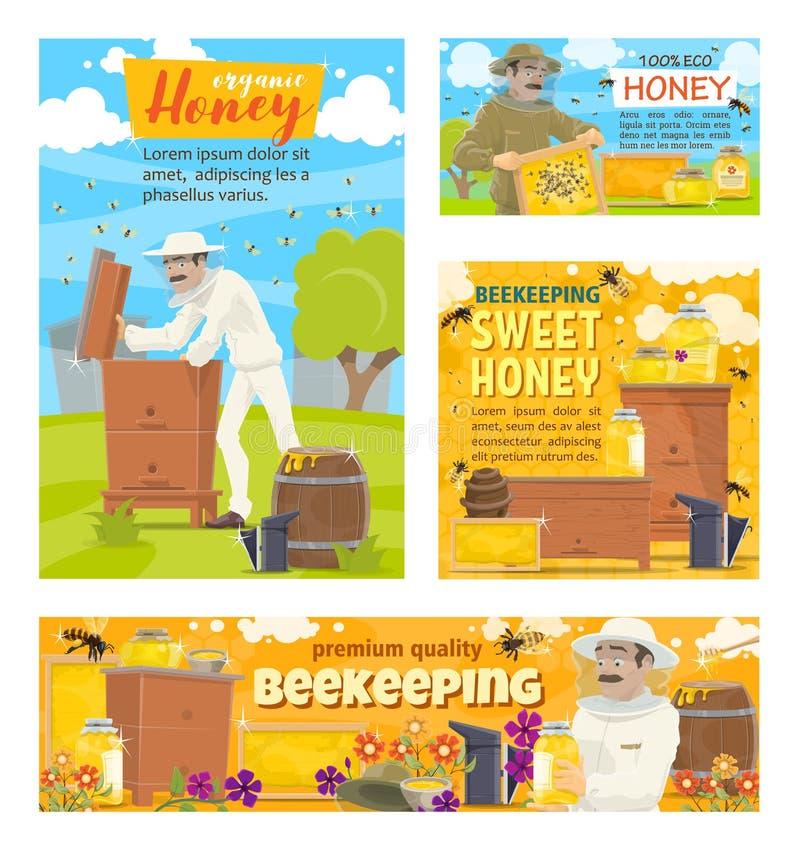 Bee Farm Honey Collecting Cartoon Stock Vector