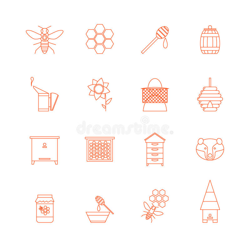 Beekeeping Cienkie Kreskowe ikony Ustawiać wektor ilustracji
