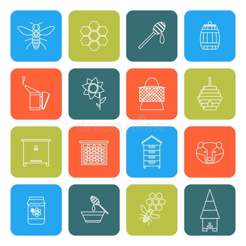 Beekeeping Cienkie Kreskowe ikony Ustawiać wektor ilustracja wektor