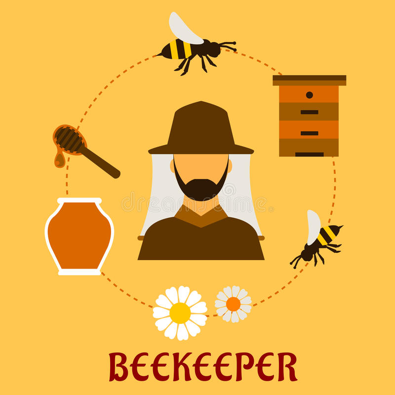 Free Beekeeping Concept With Beekeeping And Apiculture Royalty Free Stock Images - 53382929