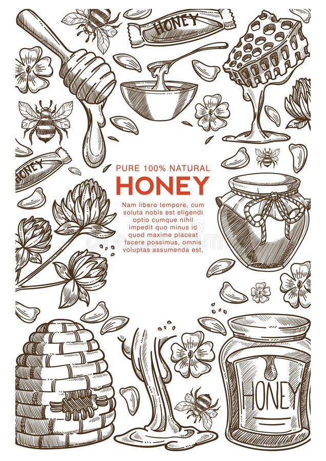 Beekeeping farm natural honey production apiary and apiculture vector illustration