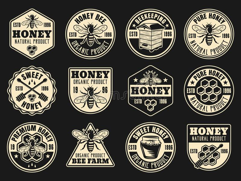 Beekeeping and honey vector collection of badges. Stickers, labels, emblems on dark background vector illustration