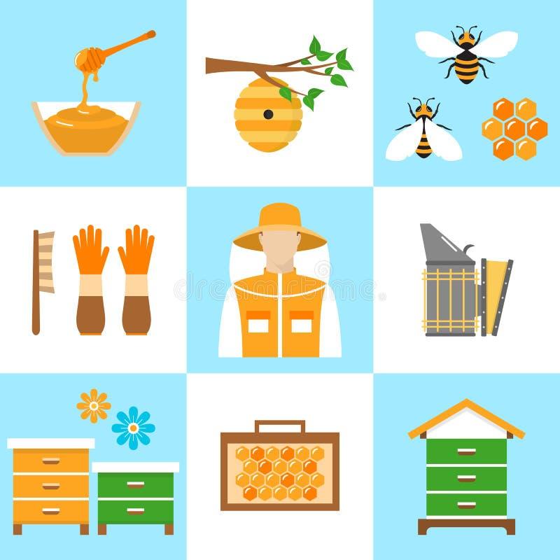 Beekeeping honey vector flat icons set royalty free illustration
