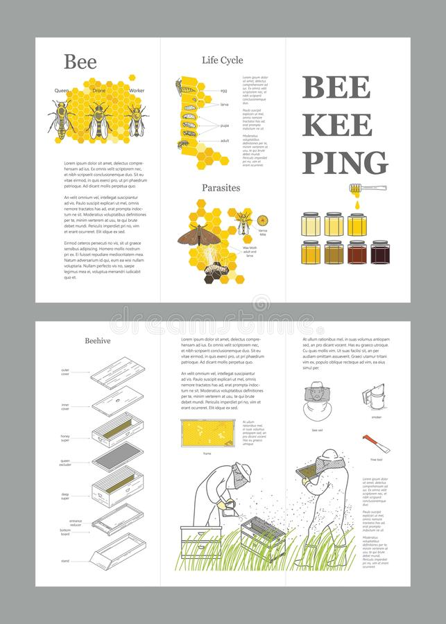 Beekeeping honey vector template with apiculture equipment, beekeeper, smoker, beehive, bee, honeycomb, illustrating the royalty free illustration