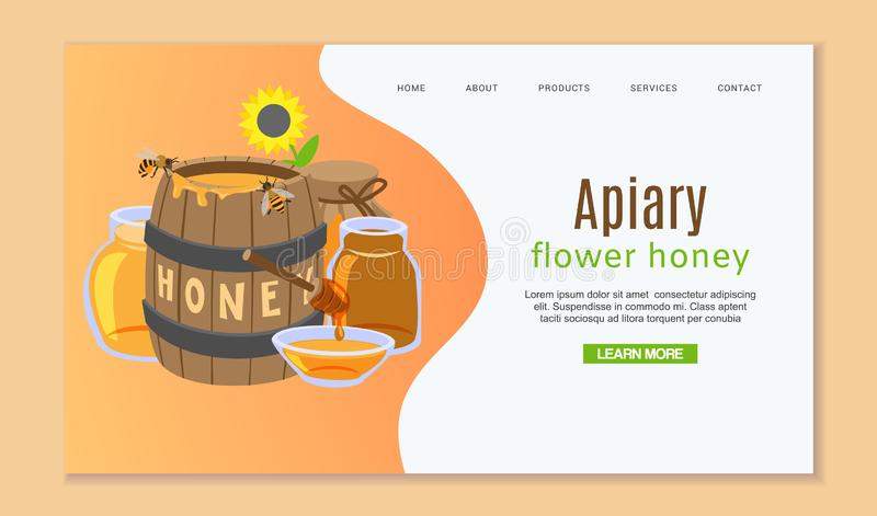 Beekeeping and honey web template with honey barrel, sun flower and bees. Layout landing page template with honeycombs vector illustration