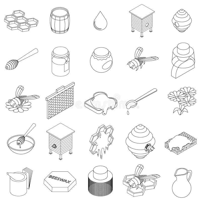 Beekeeping icons set, isometric 3d style stock illustration