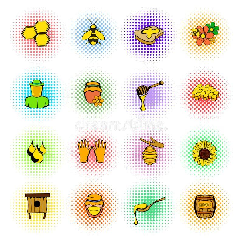 Beekeeping ikony ustawiać, komiczka styl ilustracja wektor