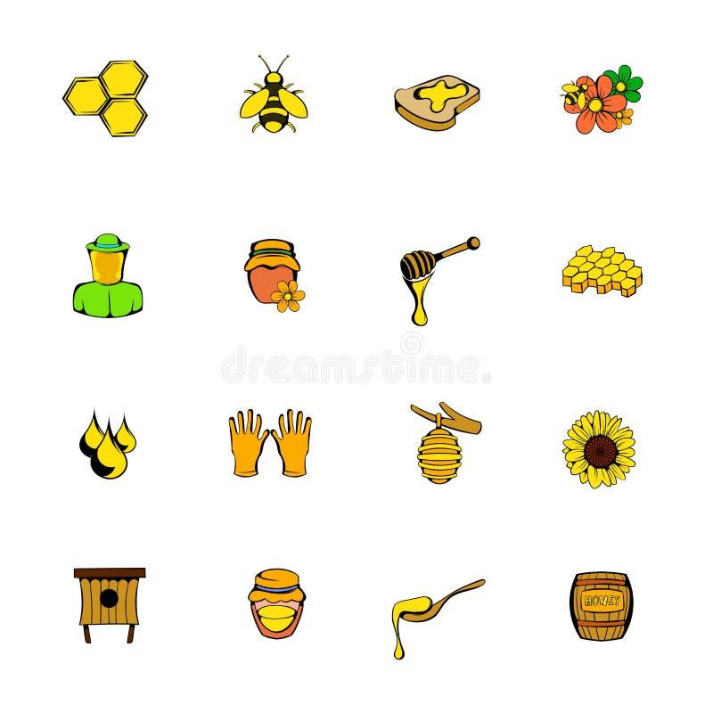 Beekeeping ikony ustawiają kreskówkę ilustracji