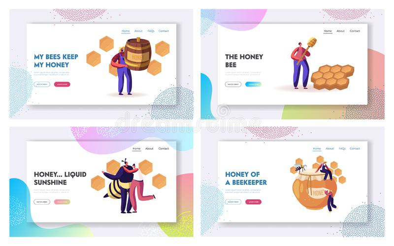 Beekeeping Process and Honey Producing Industry Website Landing Page Set. People Characters in Uniform Caring of Bees. Taking Honey from Honeycombs Web Page stock illustration