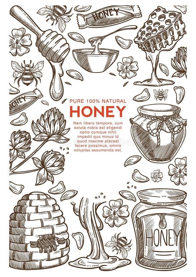 Beekeeping produkcji rolna naturalna miodowa pasieka i apiculture ilustracja wektor