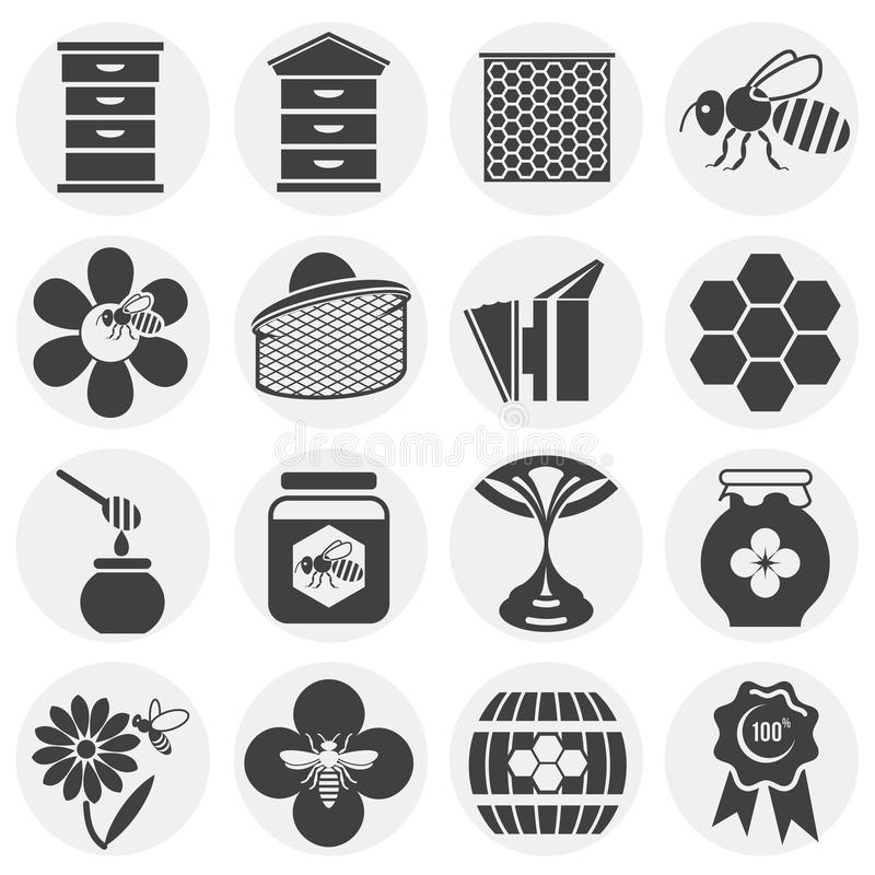 Beekeeping related icons set on background for graphic and web design. Simple illustration. Internet concept symbol for. Website button or mobile app stock illustration
