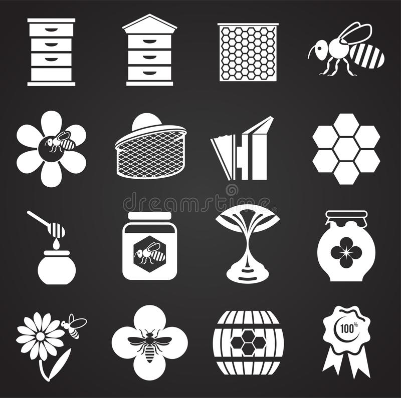 Beekeeping related icons set on background for graphic and web design. Simple illustration. Internet concept symbol for. Website button or mobile app vector illustration