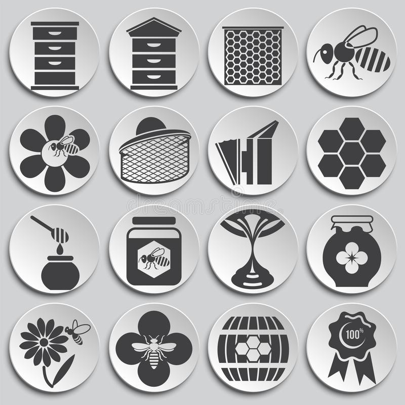 Beekeeping related icons set on background for graphic and web design. Simple illustration. Internet concept symbol for. Website button or mobile app royalty free illustration