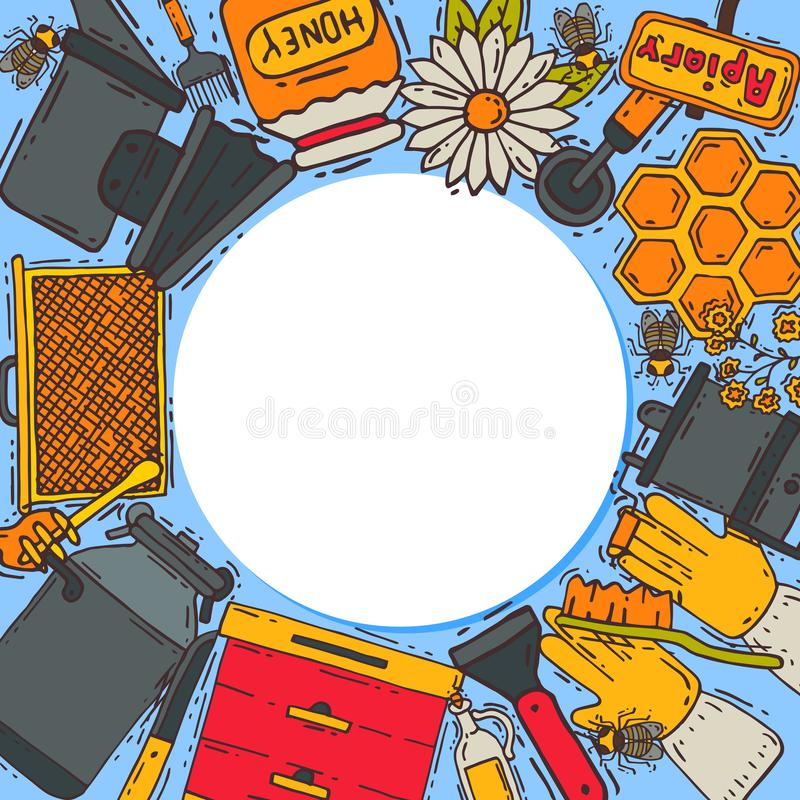 Beekeeping round pattern, apiary vector illustration. Beekeeping workshop, beekeeping tools and equipment. Honeycomb vector illustration