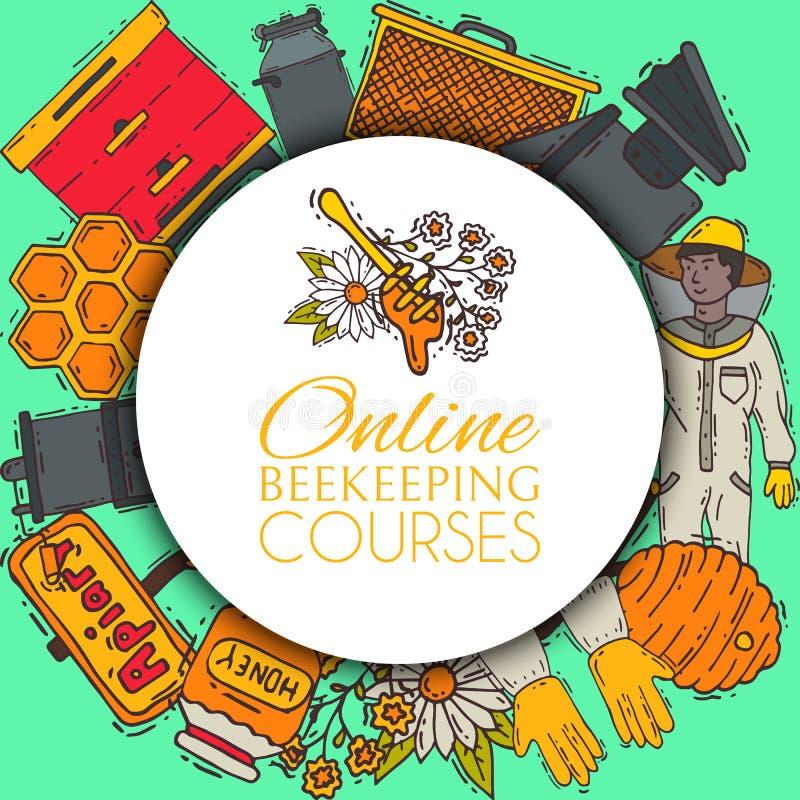 Beekeeping round pattern, apiary vector illustration. Online beekeeping courses. Beekeeping workshop. beekeeping tools vector illustration