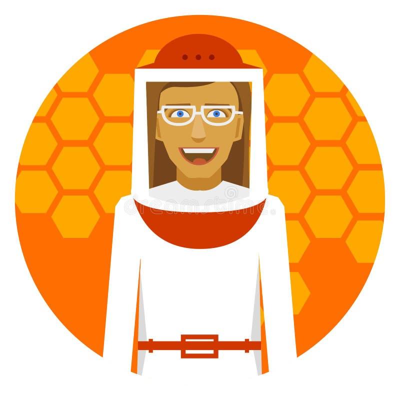 Beekeeping. Smiling beekeeper woman on a honeyed round emblem. stock illustration