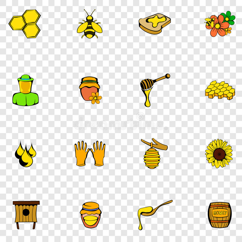 Beekeeping ustalone ikony ilustracja wektor