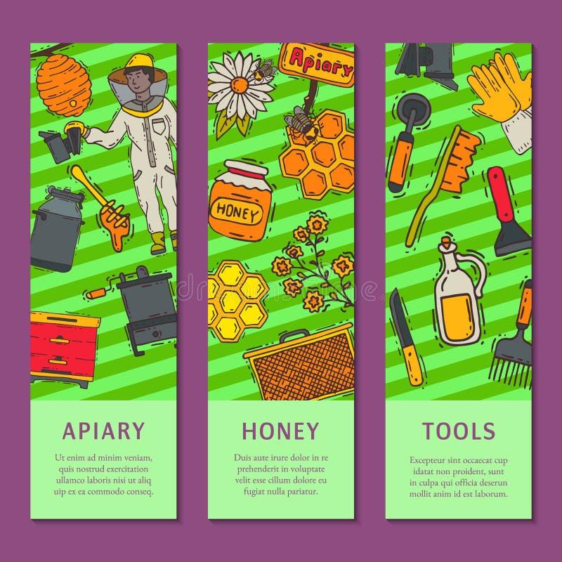 Beekeeping ustawiający sztandary, pasieka i pszczelarka w ochronnego kostiumu wektoru ilustracji, Mężczyzna z wyposażeniem Honeyc ilustracja wektor