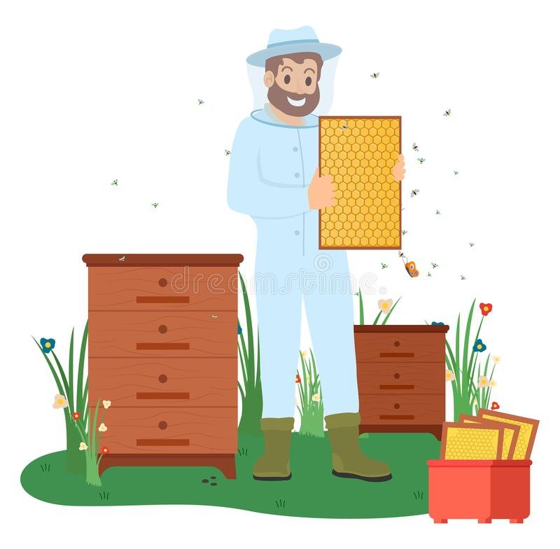 Beekeeper with Bees, Honey Making Business Vector royalty free illustration