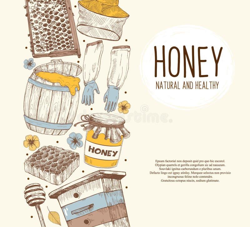 Beekeping schizza il cerchio illustrazione vettoriale
