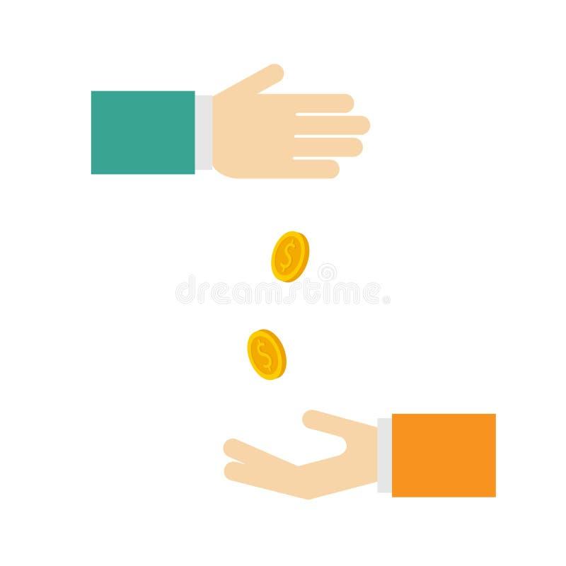 Beeld die aalmoes afschilderen Of geldrelaties Het percentage van de storting Muntstukkendaling in de hand stock illustratie