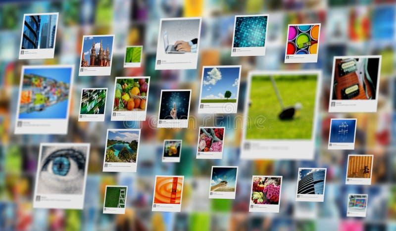 Beeld, foto of beeld die concept op Internet delen stock foto's
