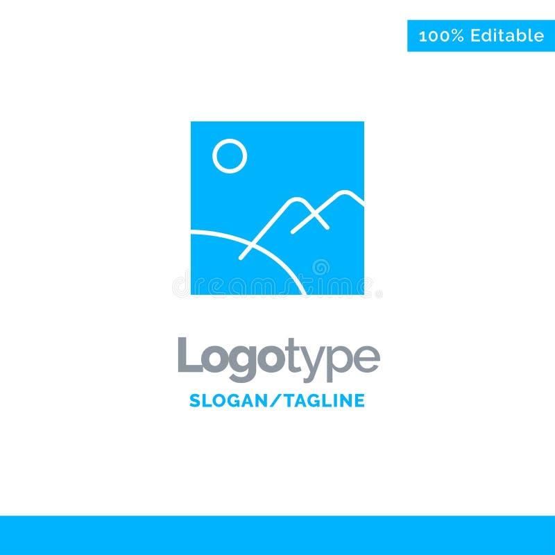 Beeld, Galerij, Beeld, Zon Blauw Stevig Logo Template Plaats voor Tagline stock illustratie