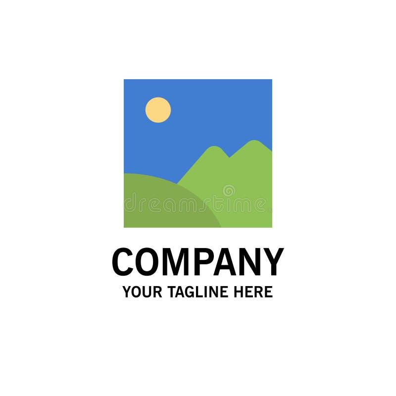 Beeld, Galerij, Beeld, Zonzaken Logo Template vlakke kleur royalty-vrije illustratie