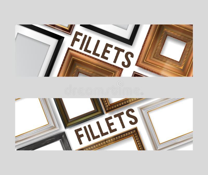 Beeld het ontwerpen reeks banners, vliegers vectorillustratie Online Winkelend Het kopen van filets in winkel of opslag wijnoogst royalty-vrije illustratie