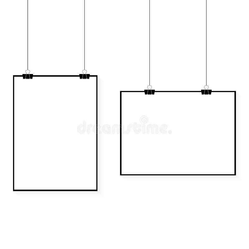 Beeld het vector witte affiche hangen op bindmiddel Grijze muur met onechte omhoog lege document spatie Lay-outmodel Horizontaal  royalty-vrije illustratie