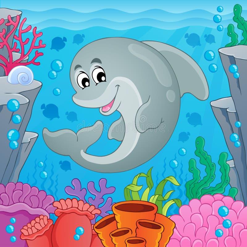 Beeld met dolfijnthema 6 stock illustratie