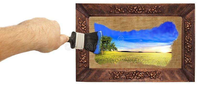 Beeld met een borstel wordt geschilderd die royalty-vrije stock foto's