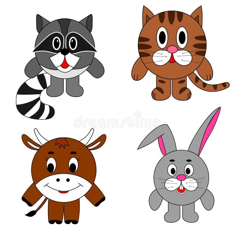 Beeld om de dieren, wasbeer, het konijn van de kattenkoe r royalty-vrije illustratie
