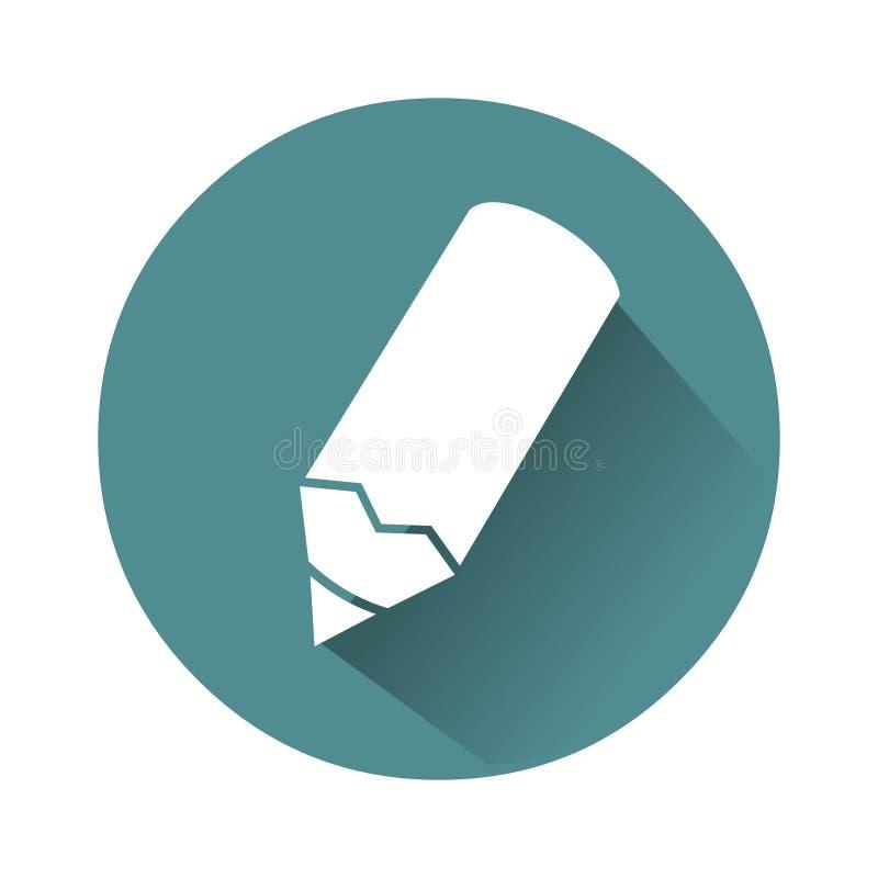 Beeld op blauwe achtergrond wordt geïsoleerd die De vectorillustratie van het potloodpictogram Onderwijspictogram stock illustratie