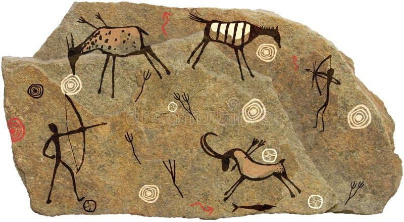 Beeld op steen op een witte achtergrond royalty-vrije illustratie