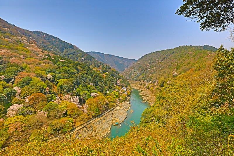 Beeld van Arashiyama van de Lente stock afbeelding
