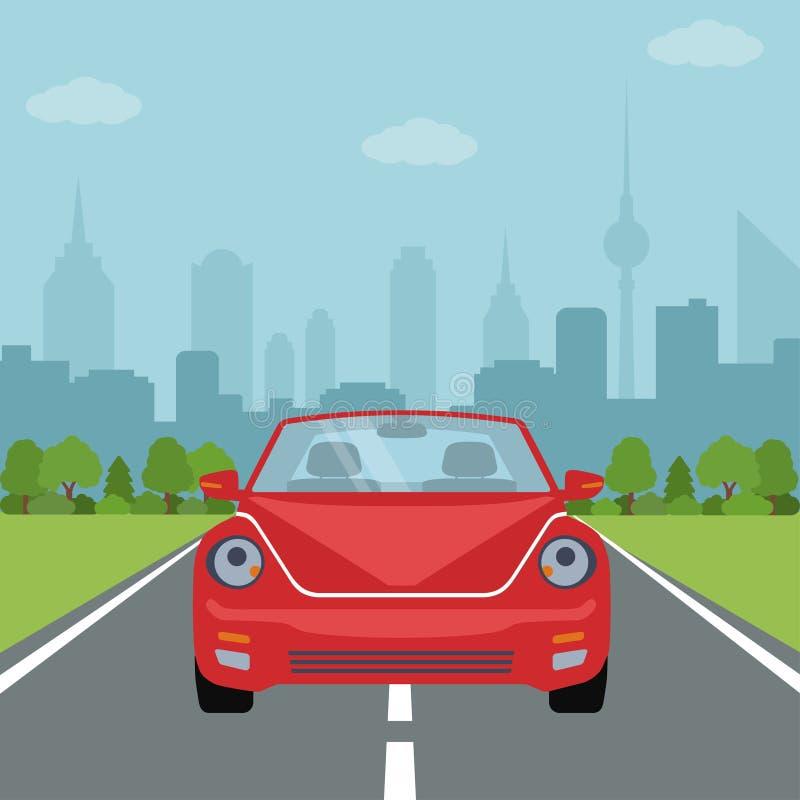 Beeld van auto op de weg met bos en groot stadssilhouet op achtergrond stock illustratie