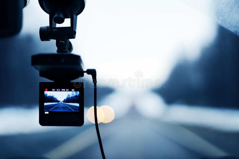 Beeld van auto videorecorder in actie stock foto