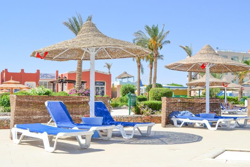 Beeld van blauw sunbeds en riet parasols dichtbij poolzone bij een hotelgebied stock foto's