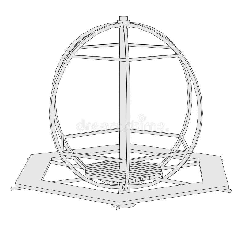 Beeld van carrousel - speelplaats stock illustratie