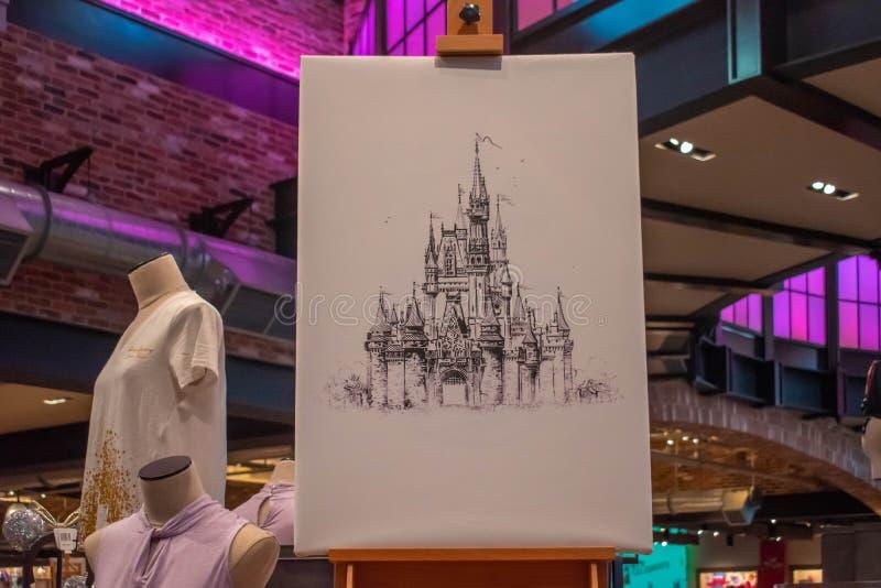 Beeld van Cinderella Castle met de hand en Disney-kleren bij het Uitzicht dat van Meerbuena wordt getrokken royalty-vrije stock afbeelding