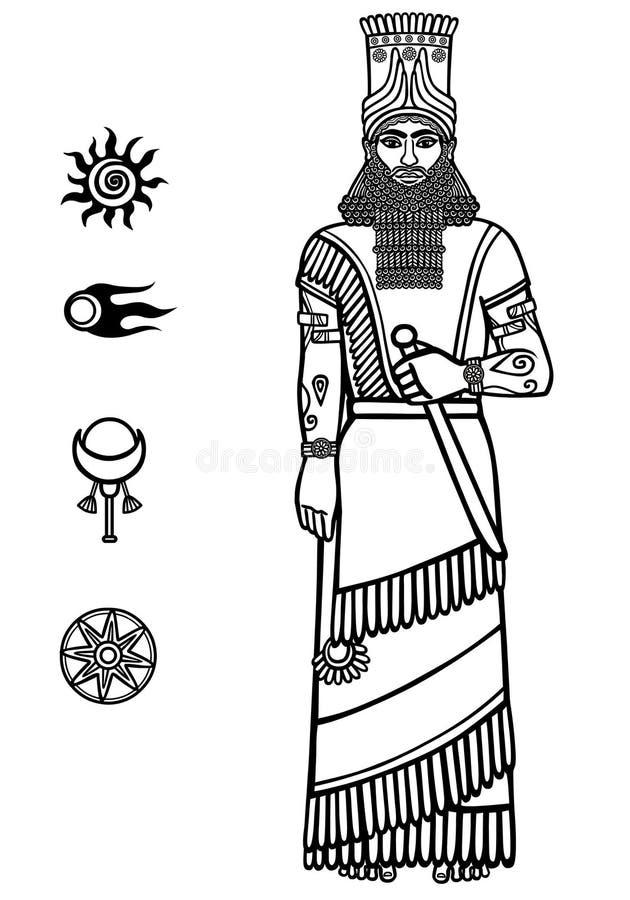 Beeld van de Assyrian-man Sumerische koning vector illustratie