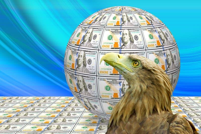 Beeld van de bol van bankbiljetten en Eagle wordt gemaakt dat royalty-vrije illustratie