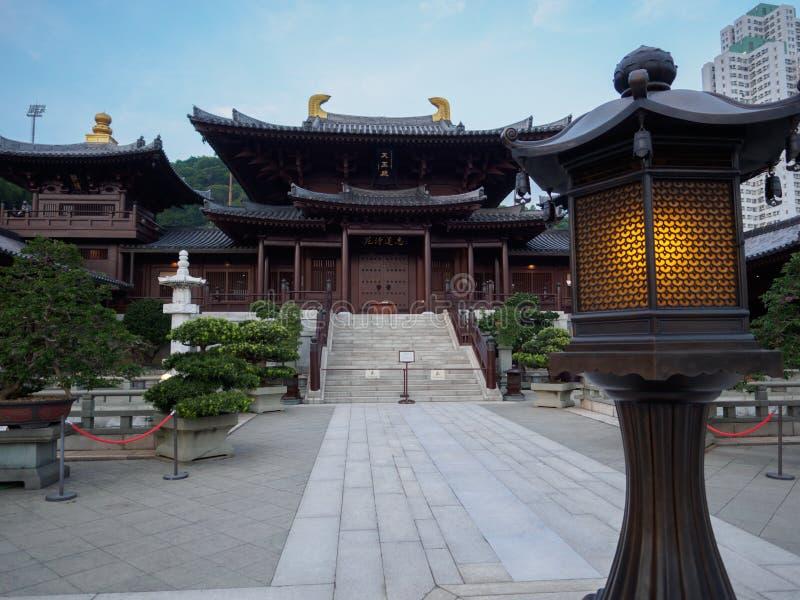 Beeld van de Chi Lin Nunnery in Hong Kong een grote die complexe budhist, in de jaren '90 wordt herbouwd royalty-vrije stock foto