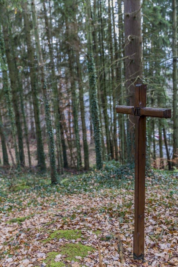 Beeld van de dwars zevende post tweede val van Jesus op de manier van het kruis royalty-vrije stock foto
