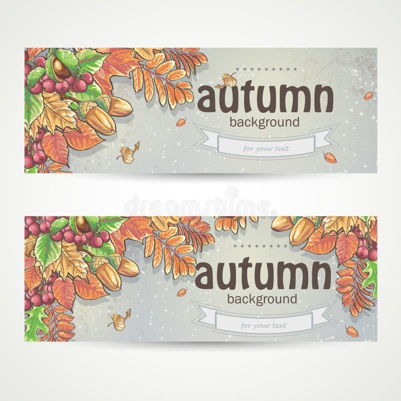 Beeld van de herfstbladeren, kastanjes, eikels en bessen van viburnum royalty-vrije illustratie