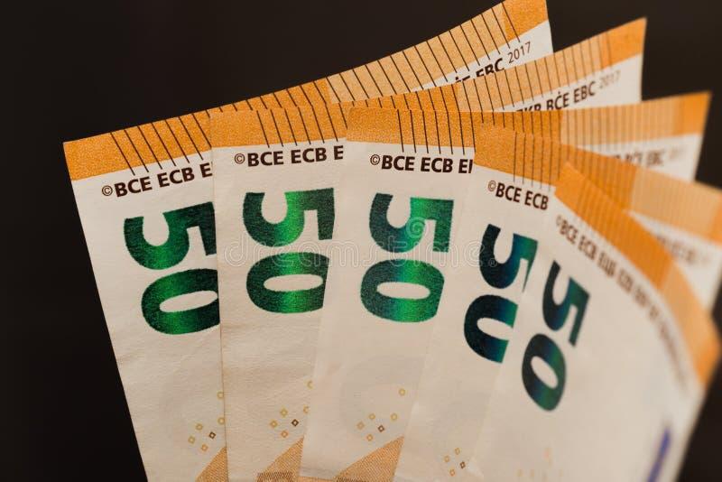 Beeld van de 50 het euro nota'sventilator royalty-vrije stock afbeelding