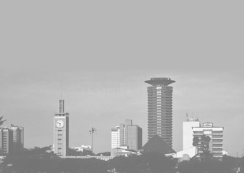 Beeld van de de stads het grijze schaal van Nairobi royalty-vrije stock foto's