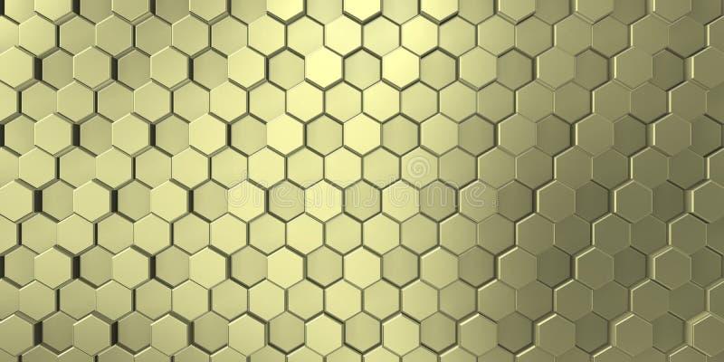 Beeld van decoratieve die metaalhulp door de unie van gouden zeshoeken wordt gevormd royalty-vrije illustratie
