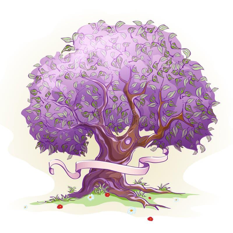 Beeld van een boom met bladeren, de boom van wijsheid en het leven vector illustratie